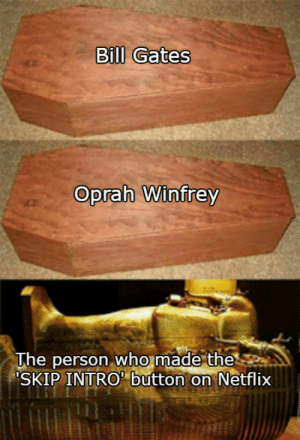 meirl: Bll Gates  Oprah Winfrey  who  The person made the  SKIP INTRO' button on Netflix meirl