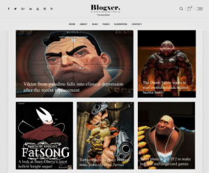 latest news article: Blogxer.  y G+ in  - BLOG & MAGAZINE THEME  TimothysMark  ELEMENTOR  CONTACT  ABOUT  BLOG  PAGES  НОME  PAWNING  CAPTURE DorT  6.  15  The Doom Slayer wants to  start another crusade against  Viktor from paladins falls into clinical depression  after the recent replacement  hazbin hotel  TimothysMark  huff  huff  hmph  huff  SwaLLOW KNIGHT  FatSONG  Valve plans to kill TF2 to make  half life and cs-go card games  SEDZ  Torbjorn says he plans to eause  mass genocide to all furries  A look at Team Cherry's latest  hollow knight sequel  Sponsored By latest news article
