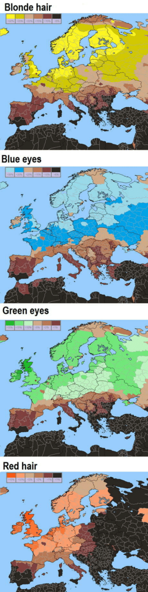 Blue, Hair, and Red: Blonde hair  Blue eyes  Green eyes  15 tS 109 (5% %  Red hair  105052% Interesting data on Europeans