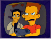 Blood on the Blackboard: The Bart Simpson Story starring Richard Chamberlain as Principal Skinner Joe Mantegna as Fat Tony Jane Seymour as the woman he loved and TV's Doogie Howser, Neil Patrick Harris as Bart Simpson. Bart, I'm scared. Let's get out of here. Shut up! Where do you want it, Skinner? (Skinner spits in Bart's face) Not smart: Blood on the Blackboard: The Bart Simpson Story starring Richard Chamberlain as Principal Skinner Joe Mantegna as Fat Tony Jane Seymour as the woman he loved and TV's Doogie Howser, Neil Patrick Harris as Bart Simpson. Bart, I'm scared. Let's get out of here. Shut up! Where do you want it, Skinner? (Skinner spits in Bart's face) Not smart