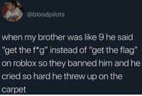 "Roblox, Brother, and Him: @bloodpilots  when my brother was like 9 he said  ""get the f""g"" instead of ""get the flag""  on roblox so they banned him and he  cried so hard he threw up on the  carpet F"