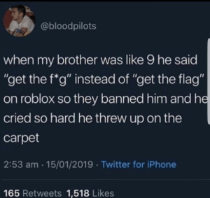 "Iphone, Memes, and Twitter: @bloodpilots  when my brother was like 9 he said  ""get the f*g"" instead of ""get the flag""  on roblox so they banned him and he  cried so hard he threw up on the  carpet  2:53 am 15/01/2019 Twitter for iPhone  165 Retweets 1,518 Likes Finely Aged Borrowed Memes"