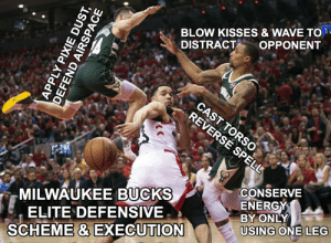 Energy, Nba, and Blow: BLOW KISSES & WAVE TO  DISTRACT  OPPONENT  CAST TORSO  REVERSE SPELL  CONSERVE  ENERGY  BY ONLY  USING ONE LEG  MILWAUKEEBUCKS  ELITE DEFENSIVE  SCHEME & EXECUTION  APPLY PIXIE DUST,  DEFEND AIRSPACE The most important parts of the Bucks' elite defense this past season