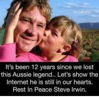 Internet, Steve Irwin, and Lost: @blowingfact  It's been 12 years since we lost  this Aussie legend.. Let's show the  Internet he is still in our hearts.  Rest In Peace Steve Irwin. Remember Him