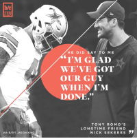 "Friends, Sports, and Apps: blr  MAG  VIA B/R'S JASON KING  HE DID SA.  TO ME  ""I'M GLAD  WE VE GOT  OUR GUY  WHEN I'M  DONE.""  T O N Y R O M O S  LONG TIME FRIEND  NICK SEK ERE s The first thing Romo did after learning about his injury was call Dak. But don't mistake support for complacency. Download the B-R app for the full BRmag story (link in bio)"