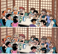 Target, Tumblr, and Blog: blu-fruit:  did a redraw of one of my favourite panels from scott pilgrim cause i wanted to draw everyonecredit to @timberwolfgrey for editing out all the speech bubblesand of course credit to the amazing @radiomaru for the original drawing and making scott pilgrim as fantastic as it is