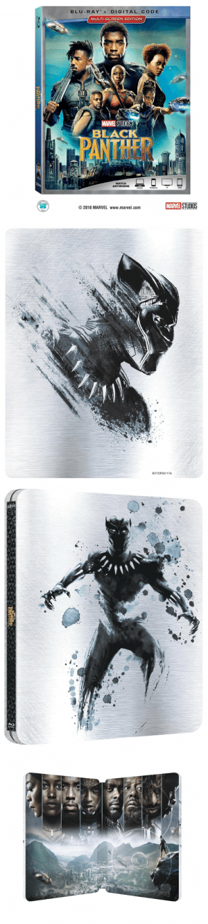 frenchblondgirl:   The outside covers and the inside of the sleek #BlackPanther Blu-ray SteelBook  : BLU R AYDIGITAL CODE  MULTI-SCREEN EDITION  MARVEL STUDIOS  BLAC  WATCH  ANYWHERE  Computer  TV  Tablet  STUDIOS  PG  ©2018 MARVEL www.marvel.com   BVTDP00117A frenchblondgirl:   The outside covers and the inside of the sleek #BlackPanther Blu-ray SteelBook