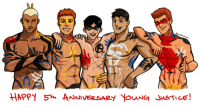 Target, Tumblr, and Blog: bludwingart: A little birdy told me that Young Justice recently had their 5th year anniversary since episode one (on Nov. 26). Thought it'd be fun to celebrate with some of the original team members. Plus a little surprise under the cut. Keep reading