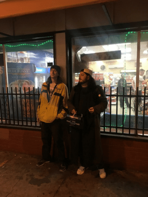 These dudes dressed up like Jay and Silent Bob and hung out in front of a convenience store all night.: BLUE BUNNY  lce Cream  X-BASS  X-BASS These dudes dressed up like Jay and Silent Bob and hung out in front of a convenience store all night.