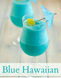 1 oz Bacardi White Rum 1 oz Blue Curacao 2 oz pineapple juice 1 oz coconut cream 1 cup crushed ice Directions  Combine all the ingredients in a blender and pulse to a creamy consistency. Garnish with a pineapple chunk and an umbrella.: Blue Hawaiian 1 oz Bacardi White Rum 1 oz Blue Curacao 2 oz pineapple juice 1 oz coconut cream 1 cup crushed ice Directions  Combine all the ingredients in a blender and pulse to a creamy consistency. Garnish with a pineapple chunk and an umbrella.
