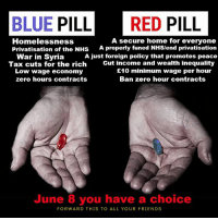 #Anonymous #GE2017 #ToriesOut: BLUE PILL RED PILL  A secure home for everyone  Homelessness  Privatisation of the NHS  A properly funed NHS/end privatisation  War in Syria A just foreign policy that promotes peace  Tax cuts for the rich  Cut income and wealth inequality  E10 minimum wage per hour  Low wage economy  Ban zero hour contracts  zero hours contracts  June 8 you have a choice  FORWARD THIS TO ALL YOUR FRIENDS #Anonymous #GE2017 #ToriesOut