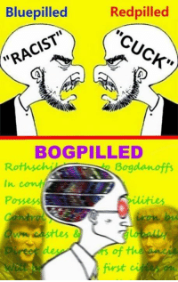 """Redpilled: Bluepilled  Red pilled  """"CUCK""""  """"RACIST""""  BOGPILLED  Rothschi Bogdanoff's  of the"""