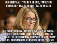 "Social Media, Uno, and Ford: BLUMENTHAL: ""FALSUS IN UNO, FALSUS IN  OMNIBUS"" (FALSE IN ONE, FALSE IN ALL)  DR. FORD LIED ABOUT SECOND DOOR, FEAR OF FLYING.  AND HER CREDENTIALS. HELPED MONICA L. MCLEAN  PREPARE FOR POLYGRAPH, PARTICIPATED IN ANTI-TRUMP  RALLIES, AND SCRUBBED HER SOCIAL MEDIA PRESENCE.  mematic.net"