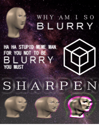 "<p>[<a href=""https://www.reddit.com/r/surrealmemes/comments/83nsik/%EF%BD%95%EF%BD%8E%EF%BD%93%EF%BD%88%EF%BD%81%EF%BD%92%EF%BD%90/"">Src</a>]</p>: BLURRY  HA HA STUPID MEME MAN  FOR YOU NOT TO BE  BLURRY  YOU MUST  S HA R PEN <p>[<a href=""https://www.reddit.com/r/surrealmemes/comments/83nsik/%EF%BD%95%EF%BD%8E%EF%BD%93%EF%BD%88%EF%BD%81%EF%BD%92%EF%BD%90/"">Src</a>]</p>"