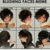 Nico❤: BLUSHING FACES MEME  RED FACED CURT  AVERING EYES BASH FUL HAPPY  SUPRISED Nico❤