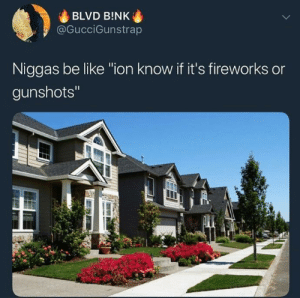 """Be Like, Fireworks, and Niggas Be Like: BLVD B!NK  @GucciGunstrap  Niggas be like """"ion know if it's fireworks or  gunshots"""""""