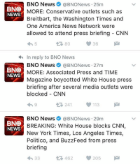 Certain press - media outlets blocked from press briefing! DonaldTrump 👀🇺🇸 WSHH: BNO News  @BNONews 25m  BNO  MORE: Conservative outlets such as  NEWS  Breitbart, the Washington Times and  One America News Network were  allowed to attend press briefing CNN  36  80  In reply to BNO News  BNO News BNONews 27m  BNO  MORE: Associated Press and TIME  NEWS  Magazine boycotted White House press  briefing after several media outlets were  blocked CNN  241 113  t BNO News @BNONews 29m  BNO  BREAKING: White House blocks CNN  NEWS  New York Times, Los Angeles Times,  Politico, and BuzzFeed from press  briefing  205  462  33 Certain press - media outlets blocked from press briefing! DonaldTrump 👀🇺🇸 WSHH