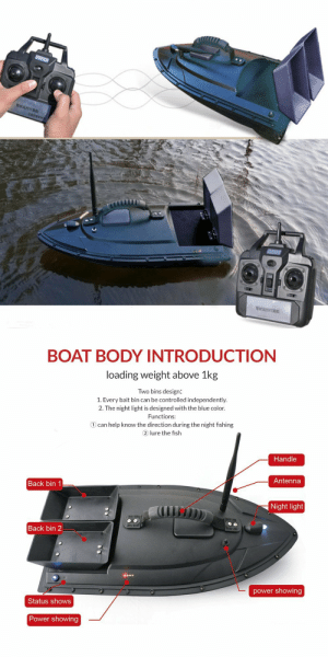 awesomesthesia: Meknic Fish Finder 2kg Bait Loading, 2pcs Tanks with Double Motors, 500M Remote Control, Sea RC, Fishing Bait Boat: BOAT BODY INTRODUCTIONN  loading weight above 1kg  Two bins design:  1. Every bait bin can be controlled independently.  2. The night light is designed with the blue color.  Functions:  ① can help know the direction during the night fishing  2 lure the fish  Handle  Antenna  Back bin 1  Night light  il  Back bin 2  power showing  Status shows  Power showing awesomesthesia: Meknic Fish Finder 2kg Bait Loading, 2pcs Tanks with Double Motors, 500M Remote Control, Sea RC, Fishing Bait Boat