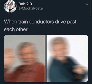 Break, Drive, and Train: Bob 2.0  @MochaPoster  When train conductors drive past  each other Take a break from the doots and go for the vrooms