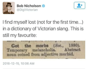 "Bitch, Irish, and Love: Bob Nicholson  @DigiVictorian  I find myself lost (not for the first time...)  in a dictionary of Victorian slang. This is  still my favourite:  IS IS  Got the morbs (Soe., 1880).  Temporary melancholia Abstract  noun coined from adjeetive morbid.  2016-12-15, 10:06 AM dysphoric-memez:  the-porter-rockwell:  thebibliosphere:  thecuriousviolet:  breelandwalker:   nineprotons: ""Got the morbs"" should be a thing. Victorian slang is AMAZING, and select phrases really need to make a comeback. ""Bitch the pot"" - Pour the tea (HOW RELEVANT IS THIS!?) ""Bang up the elephant"" - Absolutely perfect; super stylish ""Well, that's shot the bale"" - Something that has missed the mark entirely ""Church-bell"" - A woman prone to gossip ""Chuckaboo"" - A dear friend, a bosom chum ""Beer and skittles"" - A great time (see also: Irish Gaelic ""craic"") ""Butter on bacon"" - Something overdone or too extravagant ""Cupid's kettle drums"" - Breasts, particularly large ones ""Gigglemug"" - A cheerful smiling face   All of these??? Make me smile??? They're so weird and wonderful I love them??? Especially bitch the pot because that's something I could totally hear myself saying…that and chuckaboo   I worked in a Victorian tea house in my youth and I'm telling you, you haven't lived till you hear a the 98 year old lady (this was some 15 years ago) utter the words ""bitch the pot"" because it was what they used to say when the tea house first opened and it just sort of stuck through all the generations.  i can hear these in both British accents and southern accents.   Old southern people use a lot of these tbh"