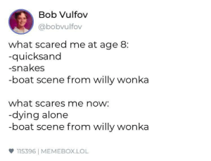 Some things never change: Bob Vulfov  abobvulfov  what scared me at age 8:  quicksand  -snakes  -boat scene from willy wonka  what scares me now:  dying alone  -boat scene from willy wonka  ф 115396 | MEMEBOX.LOL Some things never change