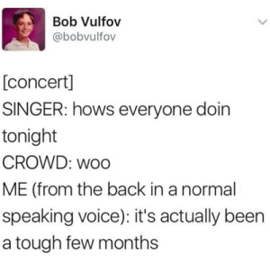 woo: Bob Vulfov  @bobvulfov  [concert]  SINGER: hows everyone doin  tonight  CROWD: woo  ME (from the back in a normal  speaking voice): it's actually been  a tough few months