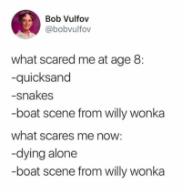 Being Alone, Memes, and Willy Wonka: Bob Vulfov  @bobvulfov  what scared me at age 8:  -quicksand  -snakes  -boat scene from willy wonka  what scares me now:  -dying alone  -boat scene from willy wonka