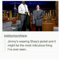 i know this is old but he looks so happy omg: bobbymovnihans  Jimmy's wearing Shaq's jacket and it  might be the most ridiculous thing  l've ever seen i know this is old but he looks so happy omg
