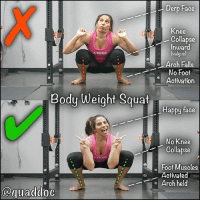 THIS QUICK TEST COULD TELL YOU WHY YOUR BODY HURTS I know what you're thinking...why do a bodyweight squat? 😣 Could I be a little obsessed squats? I may be 😏 but I will never tell you. HOWEVER a bodyweight squat is a great way to look at multiple joints moving within a given motion. More specifically we are looking to see what the feet and knees are doing in the bottom position. . So drop into a squat and compare your bottom position to @quaddoc's. Are you the ✅ or ❌? . Ideally, we are looking for the knees to track out over the middle of the foot so you give the pelvis room to rotate over the femur. If you collapse in, the hip internally rotates and can lead to a pinching feeling in the groin or crease of the hip. . Fun Anatomy Fact 🤓: Pelvis + Femur = Hip. Think of it like a ball and socket. . If you are the ❌ fear not. This simply means we got some work to do such as building up hip and foot stability. Start by gripping the ground with the foot, especially at the big toe and then pull the knees out wide so that you engage the glutes. Adding a light band around the knees can be great feedback to make sure you push out throughout the movement. . You may also see variations as in one foot may cave while the other one doesn't. If you are seeing your joints buckling under your own weight, there's a good chance it's happening anytime you add speed or load, so hopefully this sheds some 💡 light as to why you are feeling pain-discomfort in your daily life. . Comment below 👇 share your results. MyodetoxOrlando Myodetox: Body Weight Squat  quaddoc  Derp Face  Knee  Collapse  Valgus  Arch Falls  No Foot  Activation  Happy face  No Knee  Collapse  Foot Muscles  Activated  Arch held THIS QUICK TEST COULD TELL YOU WHY YOUR BODY HURTS I know what you're thinking...why do a bodyweight squat? 😣 Could I be a little obsessed squats? I may be 😏 but I will never tell you. HOWEVER a bodyweight squat is a great way to look at multiple joints moving within a given motion. More specifically we are looking to see what the feet and knees are doing in the bottom position. . So drop into a squat and compare your bottom position to @quaddoc's. Are you the ✅ or ❌? . Ideally, we are looking for the knees to track out over the middle of the foot so you give the pelvis room to rotate over the femur. If you collapse in, the hip internally rotates and can lead to a pinching feeling in the groin or crease of the hip. . Fun Anatomy Fact 🤓: Pelvis + Femur = Hip. Think of it like a ball and socket. . If you are the ❌ fear not. This simply means we got some work to do such as building up hip and foot stability. Start by gripping the ground with the foot, especially at the big toe and then pull the knees out wide so that you engage the glutes. Adding a light band around the knees can be great feedback to make sure you push out throughout the movement. . You may also see variations as in one foot may cave while the other one doesn't. If you are seeing your joints buckling under your own weight, there's a good chance it's happening anytime you add speed or load, so hopefully this sheds some 💡 light as to why you are feeling pain-discomfort in your daily life. . Comment below 👇 share your results. MyodetoxOrlando Myodetox