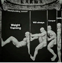 Who agrees?: @bodybuilding humour  ardio  Conquer  Will always  Weight  Training Who agrees?