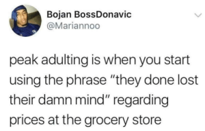 "Adulthood by Shortywcd MORE MEMES: Bojan BossDonavic  @Mariannoo  peak adulting is when you start  using the phrase ""they done lost  their damn mind"" regarding  prices at the grocery store Adulthood by Shortywcd MORE MEMES"