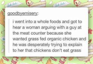 srsfunny:  I Feel Bad For That Poor Guyhttp://srsfunny.tumblr.com/: Bok bok!  Chok bok!  goodbyemisery:  i went into a whole foods and got to  hear a woman arguing with a guy at  the meat counter because she  Be  wanted grass fed organic chicken and  he was desperately trying to explain  to her that chickens don't eat grass  DARME srsfunny:  I Feel Bad For That Poor Guyhttp://srsfunny.tumblr.com/