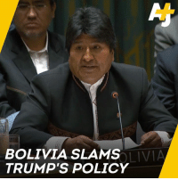 "Memes, Trump, and United: BOLIVIA SLAMS  TRUMP'S POLICY  LIVIA Bolivia's president slams President Trump at the UN Security Council: ""In no way is the United States interested in upholding democracy."""