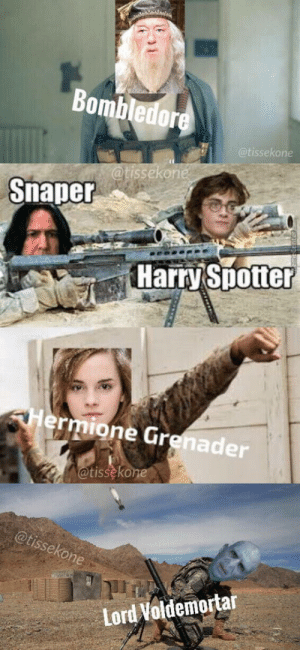 Gre, Harry, and Lord: Bombledor  issekone  atissekon  Snaper  Harry Spotter  rmione Gre  nader  tisseko  Lord Voldemortar Any other?