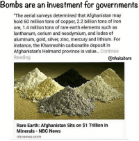 """I know, I was in the military... they invest your tax dollars in war and extract minerals that they sell to you at a premium chakabars: Bombs are an investment for governments  """"The aerial surveys determined that Afghanistan may  hold 60 million tons of copper, 2.2 billion tons of iron  ore, 1.4 million tons of rare earth elements such as  lanthanum, cerium and neodymium, and lodes of  aluminum, gold, silver, zinc, mercury and lithium. For  instance, the Khanneshin carbonatite deposit in  Afghanistan's Helmand province is value  Continue  Reading  @chakabars  Rare Earth: Afghanistan Sits on $1 Trillion in  Minerals NBC News  nbcnews.com I know, I was in the military... they invest your tax dollars in war and extract minerals that they sell to you at a premium chakabars"""