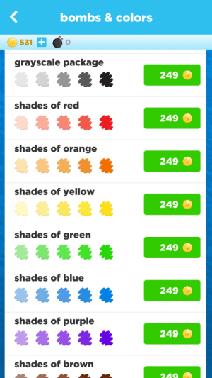 Shades of orange, shades of yellow, shades of g- greyscale package: bombs&colors  531  0  grayscale package  249  shades of red  249  shades of orange  249  shades of yellow  249  shades of green  249  shades of blue  249  shades of purple  249  shades of brown Shades of orange, shades of yellow, shades of g- greyscale package