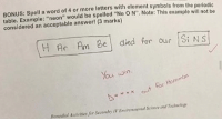 "Hilarious teacher is totally hip with the memes!: BONUS: Spell a word of letters with element symbols from the periodic  table. Example: ""neon"" would be spelled ""Ne o N"". Note: This example will not be  considered an acceptable answer! (3 marks)  H Am ee died for our Si N s  Ar You win  Harambe.  t for Remedial Heunities for second y IVEmironarental Science and Technology Hilarious teacher is totally hip with the memes!"