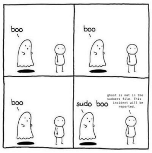 Didn't work: boo  boo  ghost is not in the  sudoers file. This  incident will be  boo  sudo boo  reported. Didn't work