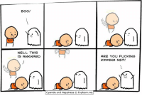 Cyanide and Happiness: BOO!  WELL  THIS  IS AWKWARD  cyanide and Happiness Explosm.net  ARE YOU FUCKING  KIDDING ME?!