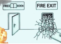 please can someone call 911: BOOK!  FIRE EXIT  FREE/ please can someone call 911