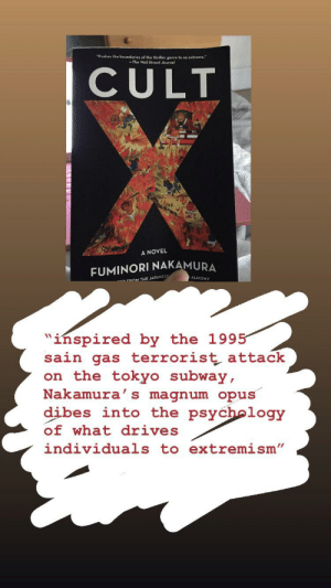 Book for Book Review: Cult X by Fuminori Nakamura (ignore WSJ review they still stinky, but this book is actually very interesting): Book for Book Review: Cult X by Fuminori Nakamura (ignore WSJ review they still stinky, but this book is actually very interesting)