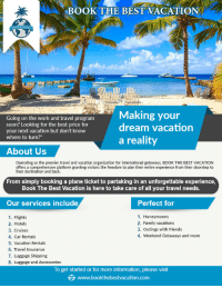 """Family, Friends, and Soon...: BOOK THE BEST VACATION  ng on the work and travel program  Making your  dream vacation  soon? Looking for the best price for  your next vacation but don't know  where to turn?""""  a reality  About Us  Operating as the premier travel and vacation organization for international getaways, BOOK THE BEST VACATION  offers a comprehensive platform granting visitors the freedom to plan their entire experience from their doorstep to  their destination and back.  From simply booking a plane ticket to partaking in an unforgettable experience  Book The Best Vacation is here to take care of all your travel needs.  Our services include  Perfect for  1. Honeymoons  2. Family vacation:s  3. Outings with friends  4. Weekend Getaways and more  1. Flights  2. Hotels  3. Cruises  4. Car Rentals  5. Vacation Rentals  6. Travel Insurance  7. Luggage Shipping  8. Luggage and Accessories  To get started or for more information, please visit  www.bookthebestvacation.com <p><a href=""""https://novelty-gift-ideas.tumblr.com/post/158791394813/book-the-best-vacation"""" class=""""tumblr_blog"""">novelty-gift-ideas</a>:</p><blockquote><p><a href=""""http://www.bookthebestvacation.com"""">Book the Best Vacation</a></p></blockquote>"""