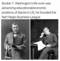 Memes, Booker T, and 🤖: Booker T. Washington's life work was  advancing educational/economic  positions of blacks in US; he founded the  Nat'l Negro Business League.