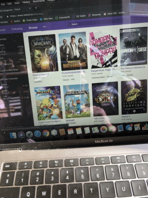 Destiny, Friends, and Minecraft: Bookmarks  File Edit View History  X  All Categories -Twitch  http://www.twitch.tv/directory  Inbox (16) scriba...  (3) Twitch  Showmax  CmoviesHD  DStv Now  Prime Video  Netflix  YouTube  Search  Following  Browse  cover  annels  TOMCLANCYS  NGON  Tngger  HappyHavo S  WORLD  WARCRAFT  ams  video  Offlirie  mitig  DATTLEe AZEROTH  Offline  w video  tus  RAINBOWSX SIEGE  Offline  ew video  SM Daequan  PLAYERUNKNOWN'S  Offine  BATTLEGROUNDS  oganPaulWasTaken  Offine  Tom Clancy's Rainbow Si...  Danganronpa: Trigger Ha...  World of Warcraft  PLAYERUNKNOWN'S B...  nmended Channels  8.8K viewers  10.6K viewers  10.2K viewers  10.5K viewers  FPS  Shooter  Shooter  Adventure Game  FPS  Shooter  MMORPG  Button  inecraff  836  pokay  Minecraft  907  BUILDERS  MINECRHFT  Tfue  Fortnite  35,288  PATHor  w More  OF  LEGION  DESTINY 2  FORSAKEN  SEASON OF OPULENCE  Dragon Quest Builders 2  78K viewers  Minecraft  Path of Exile  Destiny 2  Search to Add Friends  https://www.twitch.tv/directory/game/Minecraft.  6.9K viewers  6.5K viewers  6.4K viewers  KM OPDA  Aation  Aotian  DDC  CDS  Sheotar  JUL  12  30  MacBook Air  esc  DII  D00  F1  F2  F3  F6  F7  F8  $  %  &  1  $3  2  4  7  8  T  Q  W  T  E  U  Y Let's get Minecraft to number one on twitch to show that Felix is the best Minecrafter of all time