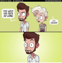 Memes, 🤖, and Adam: BOOKS OF ADAM BY ADAM ELLIS  THIS WEEK  HAS BEEN  SO LONG  FB.COMIBUZZFEEDADAM  IT'S  TUESDAY Tuesday again? No problem