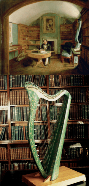 booksnbuildings: Irish poet Thomas Moore in his study, and his Royal Portable Harp, made by    renowned Irish harp-maker John Egan. He used to play it to accompany the songs he wrote. Thanks to Ivar for discovering this. : booksnbuildings: Irish poet Thomas Moore in his study, and his Royal Portable Harp, made by    renowned Irish harp-maker John Egan. He used to play it to accompany the songs he wrote. Thanks to Ivar for discovering this.