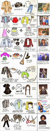 white collar: BOOMB OX  TRENCH COAT  TEE SHT NS LLOyD DOB8LER  JEANS  PLAID  BLAZER  SKIRT  TEASEDCROQUET  HAIR  STILK  ONE OF THE HEATHERS  JAKE  RYAN  B IRTHDA  CAKE (WITH I6  CANDLES)  PINK DRESS  RYAN BUTTON  SAM. BAKER  SHADES  &FINGERLESSRED PLAID  JOHN  ! BENDER  JEAN  JACKET  GLOVES  FLANNEL&뱉옅E  TEE  na  PLATFORMS  TOP &  MINISKIRT  BROOM  & HAT  SABRINA THE  TEENAGE WITCH   HAIRS PRAY  & GREEN  TEMP HAIR  DY E  TAKE A BLAS I  SUIT & STRIPE T WITH  WHITE DUCT TAFE  BLACK E  WHITE  COLLAR  BLACK DRESS  BRAIDS  WEDNESDAY  ADDAMS  CLARISSA  EXPLAINS  IT ALL  SEASON ONE  BIKE  CLAR  OVERSIZED-DENIM  SHIRT TYE DYE  SIDE PONY,  BIG EARRINGS,  HEADBAND  DARい  YS  ROBERT  SMITH HAIR  BLACK  SCISSORSEDWAR  ALL  LACK AC  SCISSOR HANDS