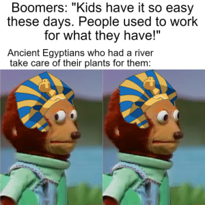 """They planted the seeds, had their donkeys step on them, and then the nile did the rest: Boomers: """"Kids have it so easy  these days. People used to work  for what they have!""""  Ancient Egyptians who had a river  take care of their plants for them: They planted the seeds, had their donkeys step on them, and then the nile did the rest"""
