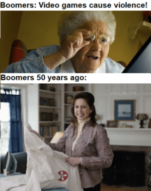 """Back in my day, everybody was civil."": Boomers: Video games cause violence!  Boomers 50 years ago:  /Byte Me 1776 ""Back in my day, everybody was civil."""