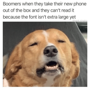 Meirl: Boomers when they take their new phone  out of the box and they can't read it  because the font isn't extra large yet  @tank.sinatra Meirl